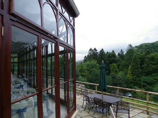 Craig y Nos Castle Wedding Venue Swansea as seeon on balcony outside the Conservatory