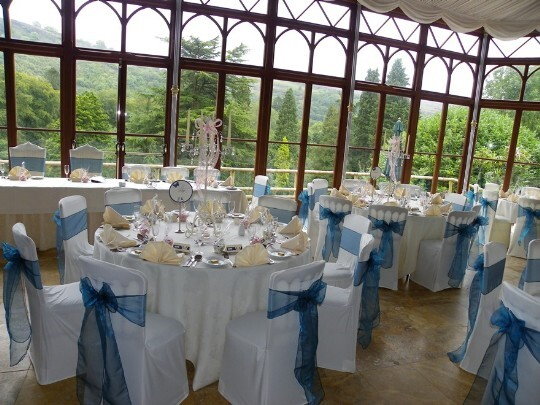 Craig y Nos Castle Wedding Venue Swansea Conservatory Wedding Breakfast pale blue and white colours