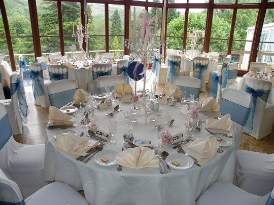 Craig y Nos Castle Wedding Venue South Wales the Conservatory set up for the Wedding Breakfast