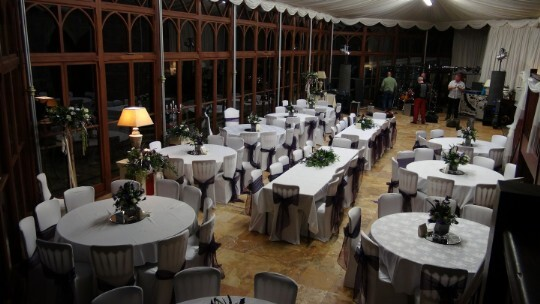 Craig y Nos Castle Wedding Venue Swansea Conservatory Wedding Breakfast Black and White wedding colour theme