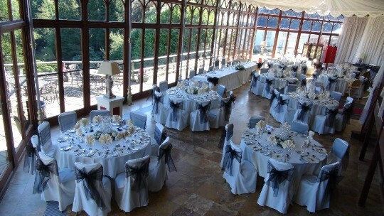 Craig y Nos Castle Wedding Venue Conservatory Wedding Breakfast with Black and White wedding theme