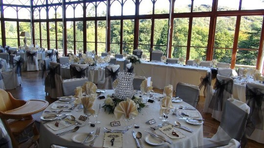 Wedding Breakfast Black and White wedding colour theme in the Conservatory at Craig y Nos Castle