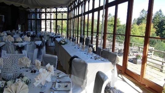 Wedding Breakfast Black and White wedding colour theme with chandelier vases on the tables
