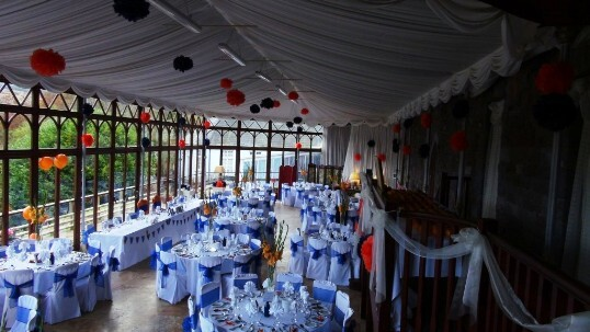 Craig y Nos Castle Wedding Venue with Bunting in the Conservatory ready for a Wedding Breakfast