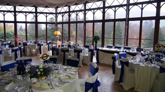 An innovative london tube themed wedding at Craig y Nos Castle's Conservatory in Wales