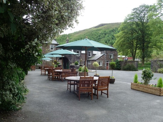 Craig y Nos Castle Wedding Venue Front Courtyard garden tables and chairs