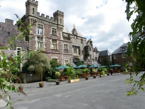 Neath Wedding Venue South Wales Craig y Nos Castle front courtyard
