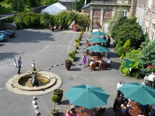Craig y Nos Castle Wedding Venue Swansea Front Courtyard on a warm summers day