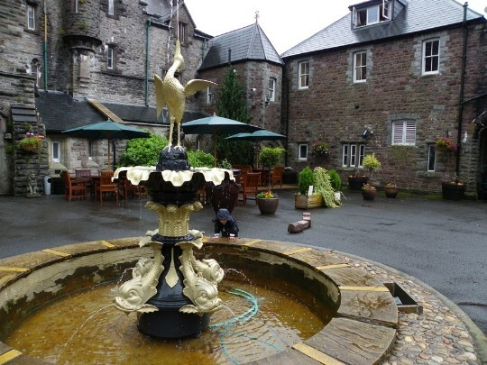 Craig y Nos Castle Wedding Venue Front Courtyard with refurbished fountain