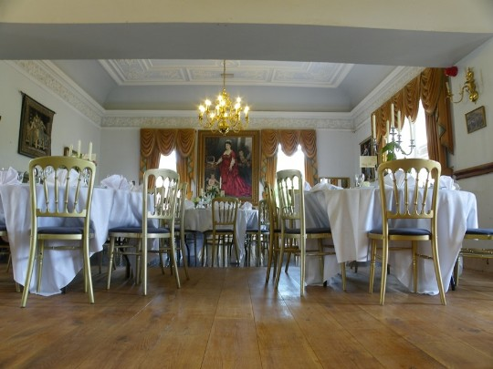 Newly laid character oak flooring in the Billiard Room of Craig y Nos Castle Wedding Venue