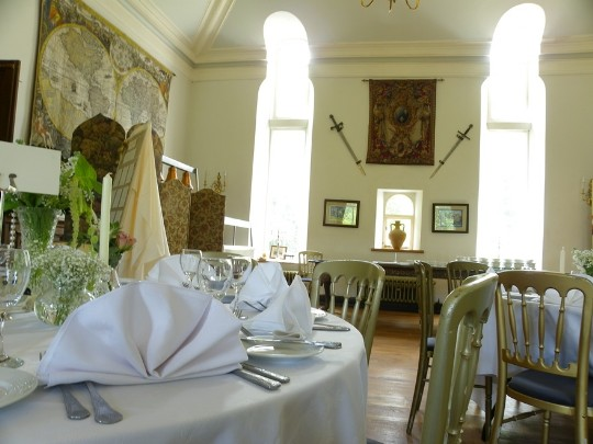 Craig y Nos Castle Wedding Venue Swansea Function Room looking towards the swords