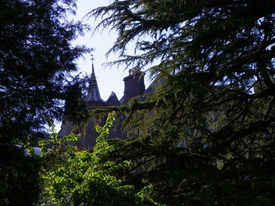 Craig y Nos Castle Wedding Venue Swansea as seen from lower gardens through tall trees