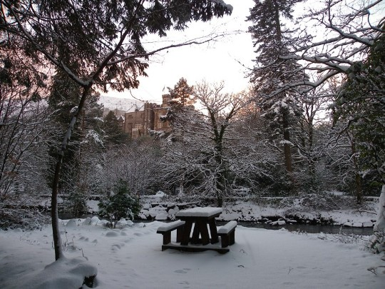 Craig y Nos Castle Wedding Venue in snow for a Winter Wedding