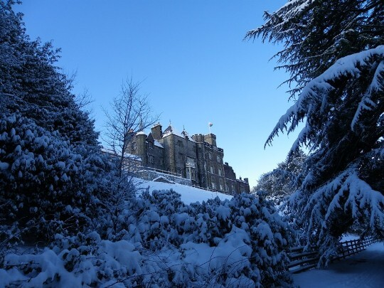 Blue sky, snow covered bushes and trees, Craig y Nos Castle snow covered, overlooking terraces and gardens