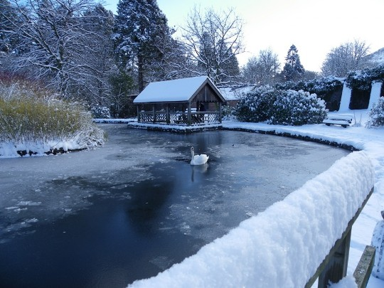 Craig y Nos Country Park Boating Lake and Boathouse in winter snow and ice