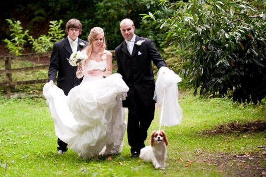 Weddings at Craig y Nos Castle welcomes brides and grooms with their dogs at their wedding day