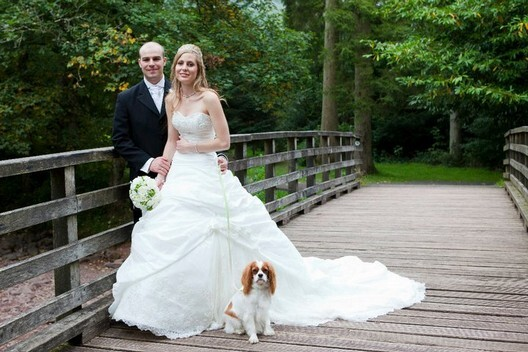 Craig y Nos Castle Wedding Venue accepts dogs couple shown with their dog on Country Park bridge