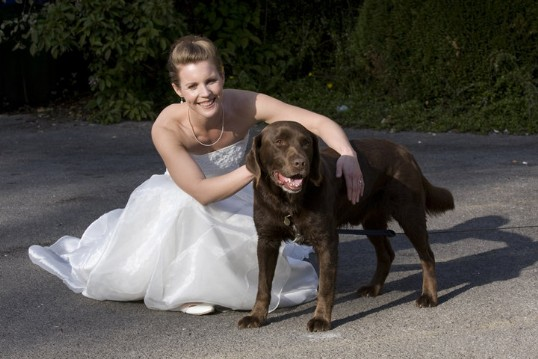 Craig y Nos Castle Dog Friendly Wedding Venue in South Wales picture of bride with dog