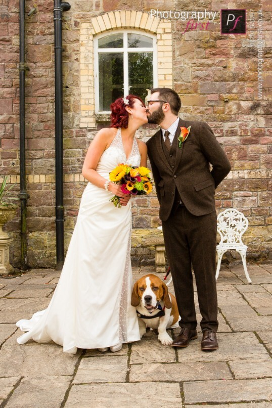 Craig y Nos Castle Dog Friendly Wedding Venues in South Wales - Bride and Groom with their dog