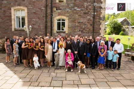 Craig y Nos Castle South Wales Theatre Terrace with Wedding Reception headed by Dougal the Dog