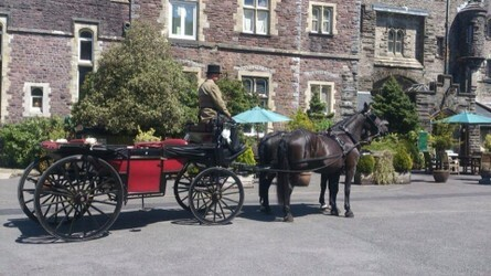 Horse and Carriage in front of Craig y Nos Castle South Wales