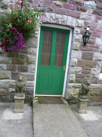 Wedding Venues South Wales - Craig y Nos Castle Accommodation Room 12 entrance ramp and green door