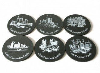Inigo Jones Slateworks set of six black slate drinks coasters