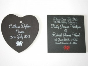 Inigo Jones Slateworks personalised black slate table mat and heart shaped badge