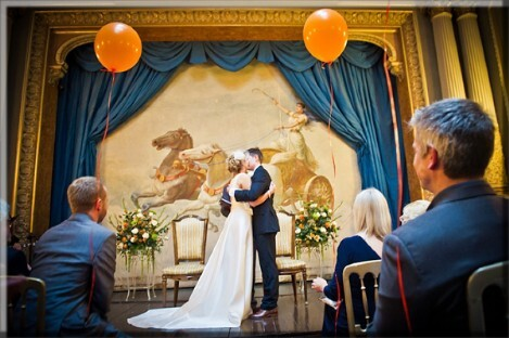 Wedding Ceremony in the Opera House at Craig y Nos Castle Wedding Venues in South Wales