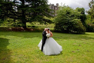 Kevin John Wedding Photography Bridal Couple in lower gardens at Craig y Nos Castle