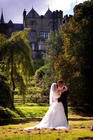 Wedding Venue South Wales, Bride and Groom in lower gardens of Craig y Nos Castle