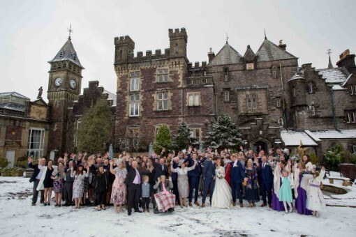 A winter wedding Craig y  Nos  Castle Courtyard