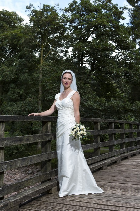 Wedding Photography by Nigel Pullen Photography, Bride on Bridge in Craig y Nos Country Park