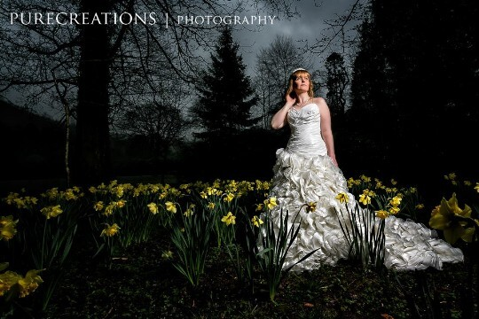 Craig y Nos Castle bride in lower gardens by Pure Creations Wedding Photography