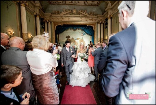Wedding Couple in the Ceremony Room at Craig y Nos Castle Rachel Lambert Photography