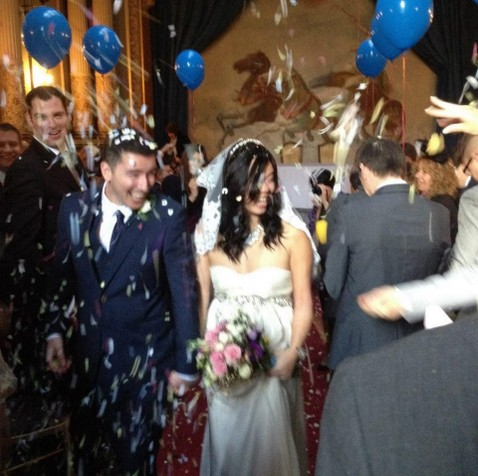 Wedding couple showered in confetti at Craig y Nos Castle's opera house