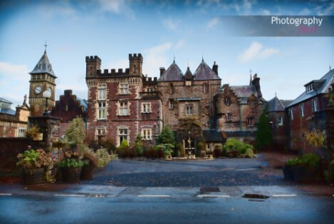 Craig y Nos Castle front courtyard by Photography First Wedding Photographers